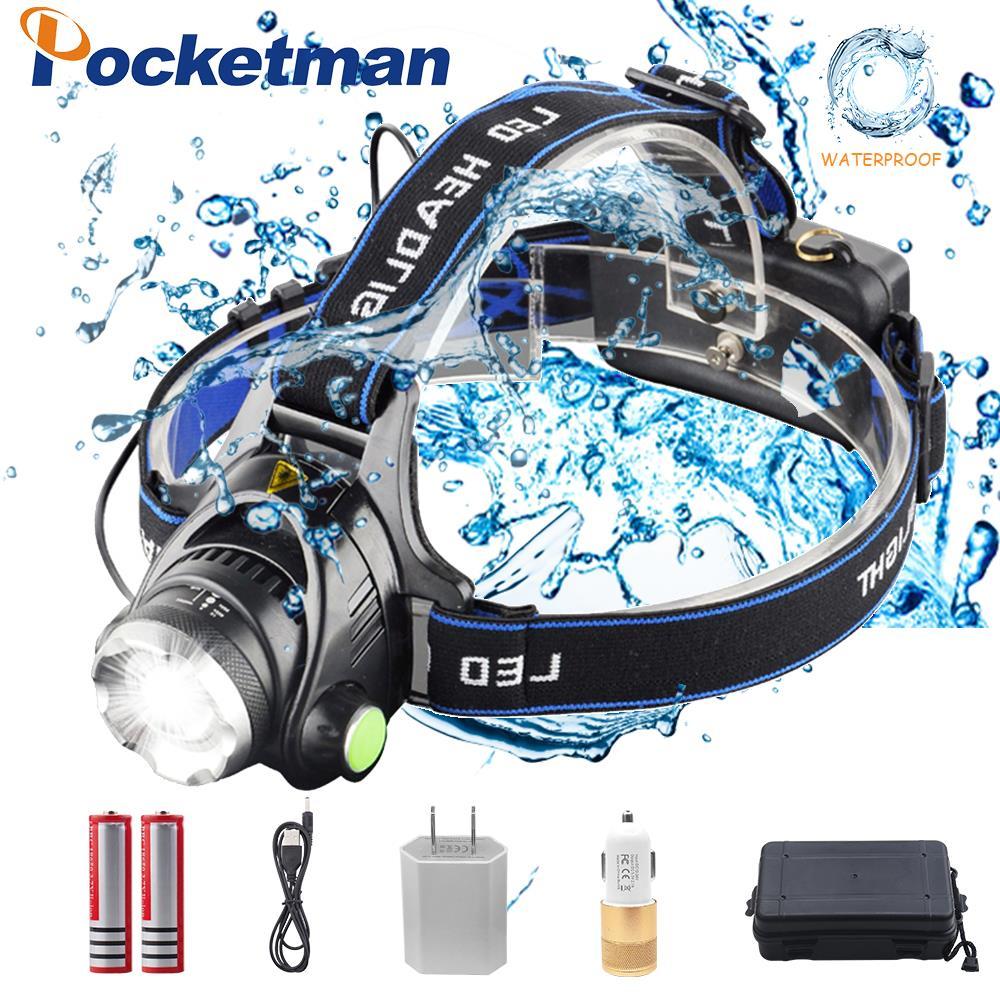 Pockeman 8000LM T6/L2 Led Scheinwerfer Zoombare Scheinwerfer Wasserdichte Kopf taschenlampe Kopf lampe Angeln Jagd Licht