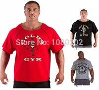 תחנת כוח זהב חדרי כושר אימון חולצות T בגדי חולצות חדרי כושר פיתוח גוף וכושר גברים שרוול קצר Tees tshirt בתוספת גודל