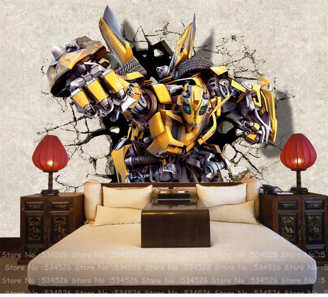 Transformers 3d boys bedroom wallpaper fresco papel de parede dourado tapete infantil background - Transformers tapete ...