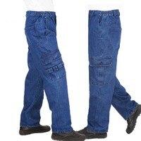 Fashion Plus Size Loose Baggy Jeans Work Pants Men Casual Hip Hop Jeans Cotton Trousers with Big Pocket Man Clothes