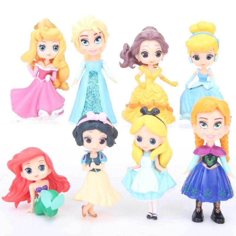 8pcs/lot Disney Princess Figures Aisha White Snow Alice Belle Mermaid Princess Anna Action Anime Figurines Pvc Model Collection Clearance Price Toys & Hobbies