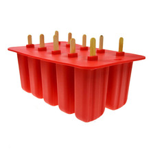 SDFC-Silica Gel Ice Cream Mould Popsicle Mold Ice Tray Puck Popsicle Mold Ice Cream 10 with silicone mold high quality Red