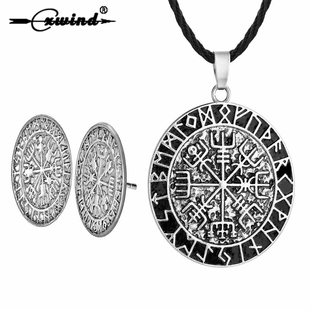 Cxwind Viking Jewelry Set Odin's Symbol of Norse Runic Pendant Necklace  Runes Vegvisir Compass Stud Earring for Women Men Gift