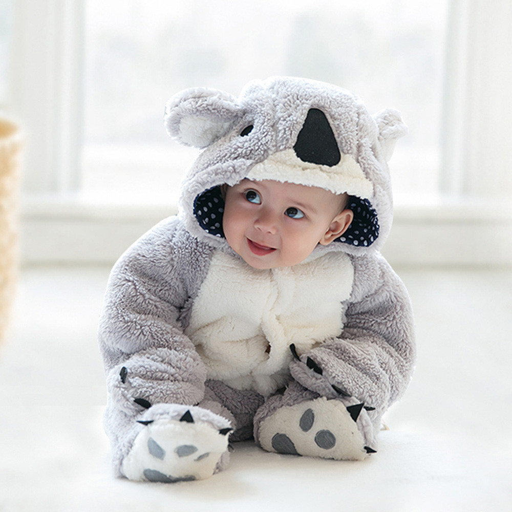 Free Shipping Winter Newborn Infant Baby Clothes Baby Boys Girls Thick Warm Cartoon Animal Hoodie Rompers Jumpsuit Outfit #YL free shipping infant children cartoon thick coral cashmere blankets baby nap blanket baby quilt size is 110 135 cm t01