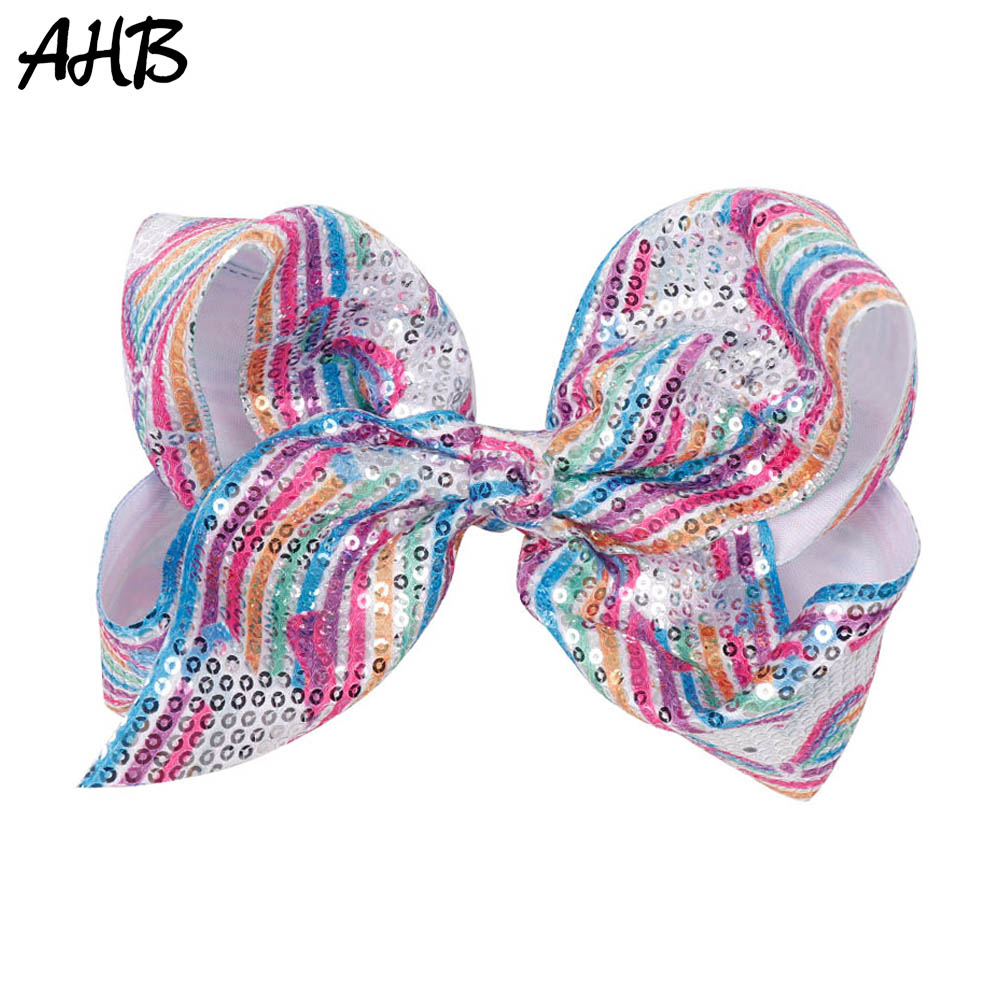 AHB 7 Inch Sequin Rainbow Large Hair Bows Unicorn Clips for Girls Cartoon Bowknot Hairgrips Party Kids Accessories