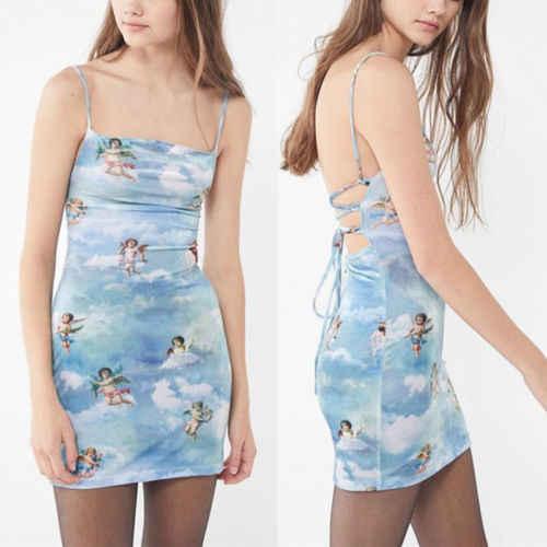 Mujeres sin mangas Spaghetti Strap Mini vestido Angel Print Ladies espalda descubierta vendaje Vestidos verano vestido veraniego para fiesta en la playa Vestidos nuevo