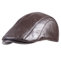 Men's 100% Real Leather Thin Lining Sheepskin Military Casquette Army Beret Golf Cap Newsboy Peaked Hats/caps