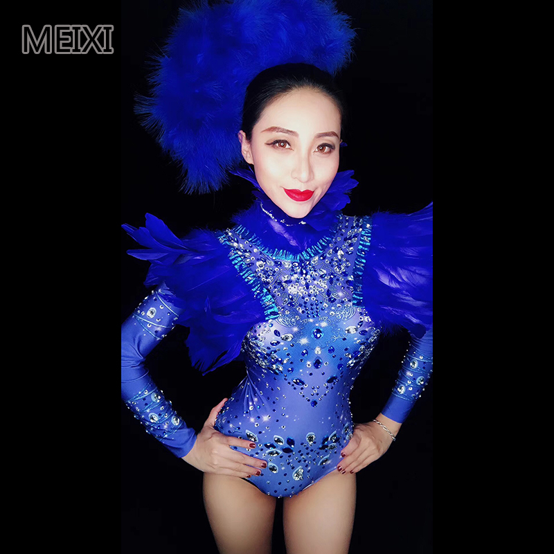 The Shiny Sapphire Blue Feather Rhinestone Bar Nightclub Concert Singer Dancer Costume