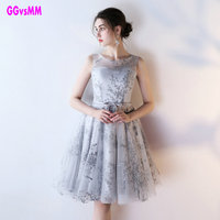 Sweet Cocktail Dresses 2017 New Bride Married Banquet Vestido Social Silver Lace Prom Dress Short Formal