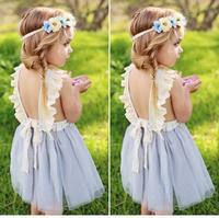 Для маленьких девочек детская одежда летние Кружево Подтяжки для женщин газовое платье принцессы назад мода платье Детская одежда Платья д...