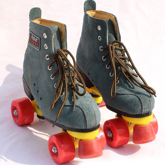2016 New Arrivals Unisex Adultos Clássico Inglaterra Estilo Rolo Quad 4 Rodas de patins Bota Interior Ao Ar Livre Dupla Dois Rolos De Linha sapatos