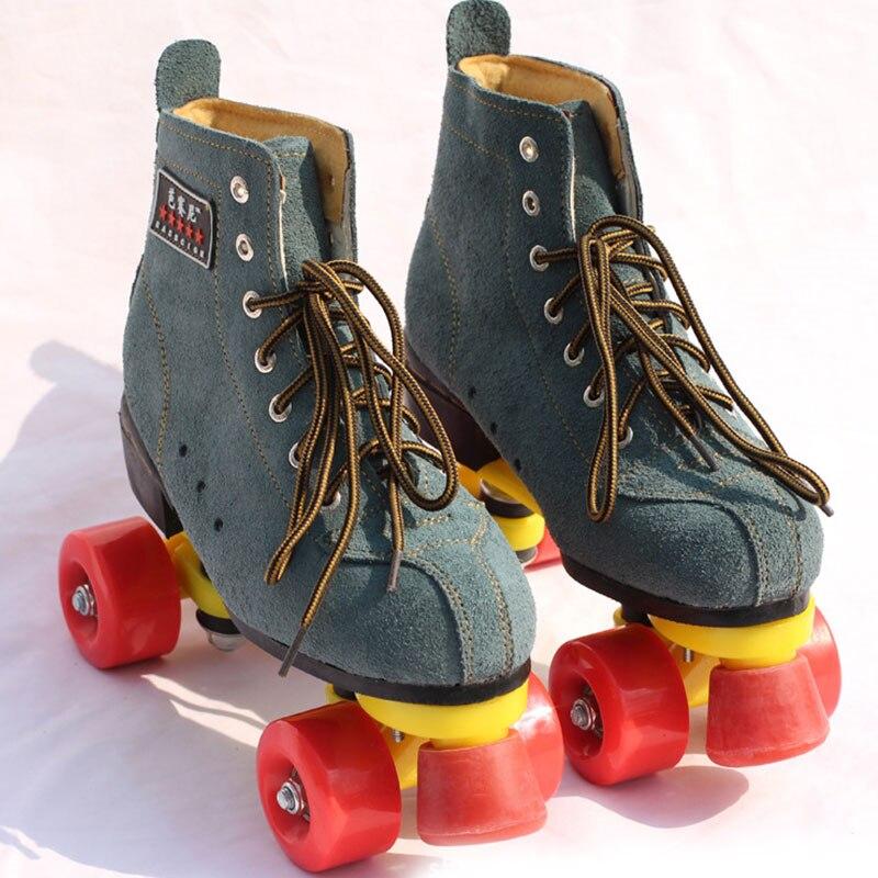 Nouveautés Unisexe Adultes Classique Angleterre Style Quad Patins à roulettes Boot En Plein Air Intérieur 4 Roues Double Deux Ligne Chaussures À Roulettes