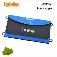 Balaike solar battery charger 28W 5V Solar Panel Folding Foldable Waterproof Charger Mobile Power contain 3 pcs panel solar