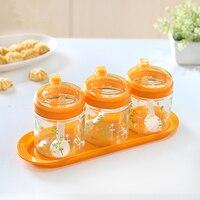 3 Pçs/set Fornecimento Cozinha Tempero Jar Açucareiro Tanque De Armazenamento Recipiente de Alimento de Vidro Impresso Selado Pode Piezoelétrico de Grãos de Cereais
