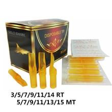 Одна коробка из 50 шт Круглый/Magnum Размер одноразовый предварительно стерилизованный Золотой Акула желтый наконечник татуировки сопла питания