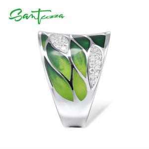 Image 3 - SANTUZZA Silver Rings For Women Genuine 925 Sterling Silver Green Bamboo leaves Luminous CZ Trendy Jewelry Handmade Enamel