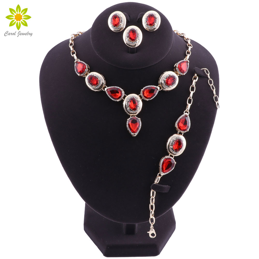 Fashion Jewelry Sets For Women Wedding Water Drop African Beads Jewelry Set Necklace Earrings Dubai Indian Ethiopian Jewellery