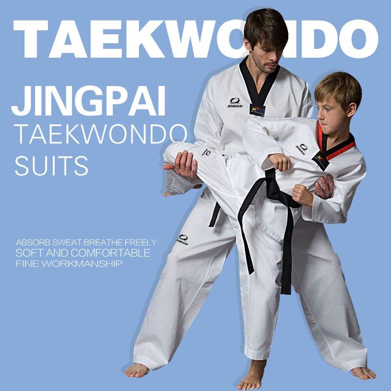 2017 Nuovo Maschio Adulto Bambino Femminile Ragazzi Bianchi Di Cotone Traspirante Taekwondo Uniforme Dobok Taekwondo Wtf Approvato Tkd Copre Il Vestito