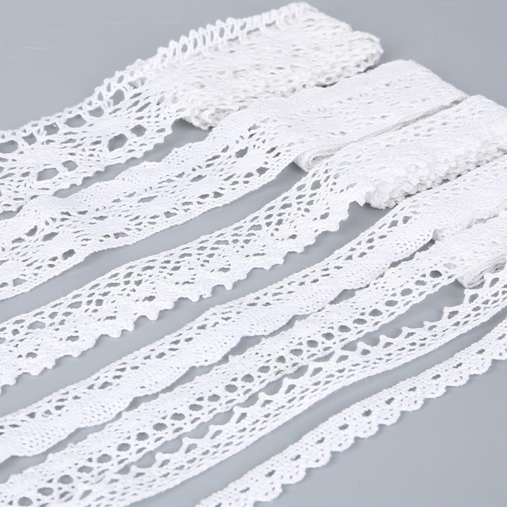 High Quality 5Yards White Color Cotton Lace For Garment Laces Trim Sewing Accessories Scrapbooking Lace Embellishment(10-38mm)