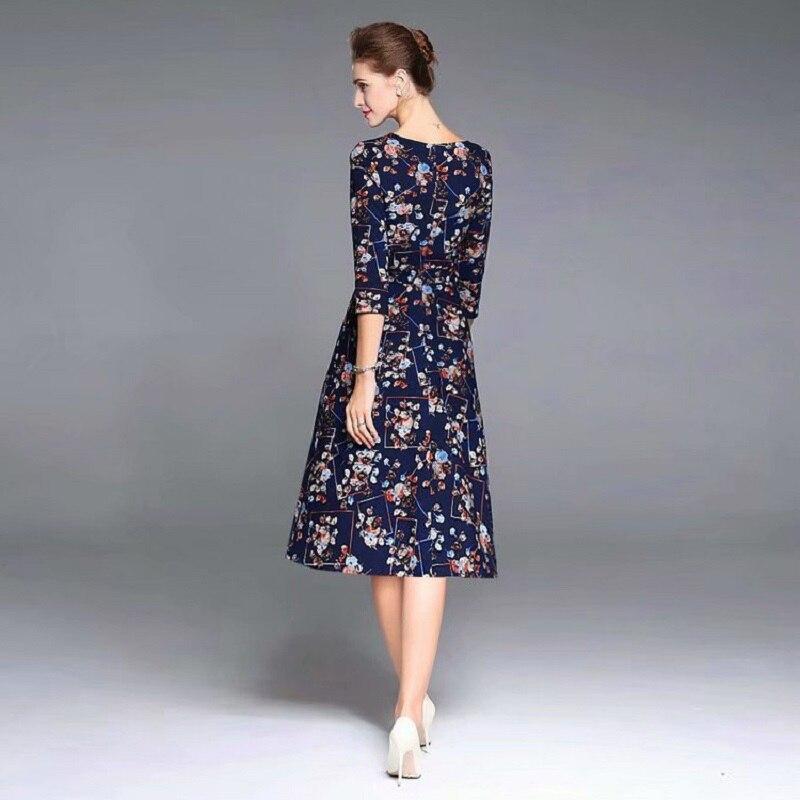 Imprimé A Asymétrique 4 Manches ligne Floral Col Casual 2018 Parti 3 Robe Hiver Automne Coton Midi Style Femmes Vintage sthQrd