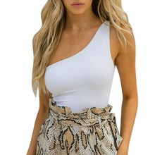 Fashion Summer Women Rompers Jumpsuit Sleeveless Sexy One Shoulder Strappy Body Sculpting Slim Bodysuit Buzos Mujer  #GEX