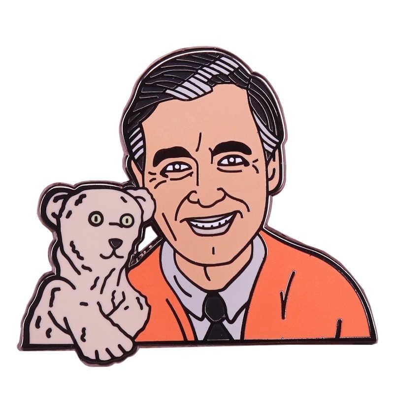 Fred Rogers emaye pin sevimli kukla ayı broş bay Rogers mahalle nostaljik çocukluk rozeti çocuklar hediye