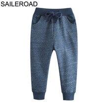 SAILEROAD Navy Blue Boy Long Pants for Kids Sweaterpants Autumn Children Sport Trousers Cotton Girls Pockets for Child Clothes
