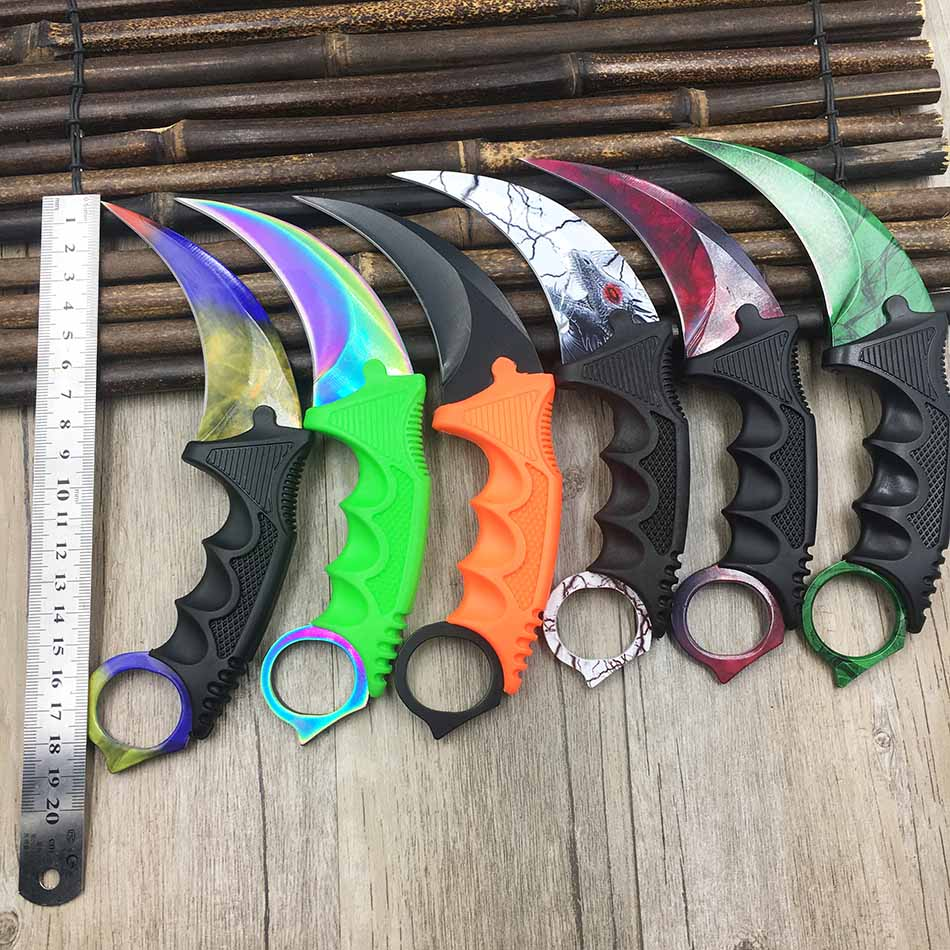 CS GO Counter Strike claw Karambit Knife Neck Knife with Sheath Tiger Tooth Real game Knife rainbow camping fix blade knife