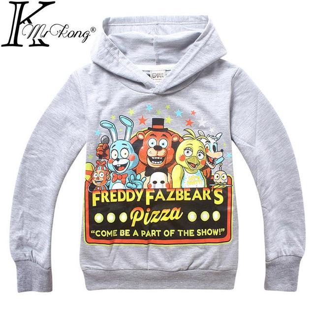 2015 Мультфильм пять ночей в фредди медведь детская одежда толстовка vetement гарсон малыш мальчики футболка киндер kleidung толстовки