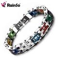 Rainso Punk Biker Bracelet Men Motorcycle Link Chain Bike Bicycle Chain Bracelet Bangles Classic Stainless Steel Men's Bracelet