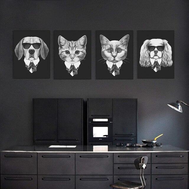 711095d49b818 Noir blanc abstrait italie Mafia Animal chien chat carlin bande dessinée  imprimé photo mur peinture toile