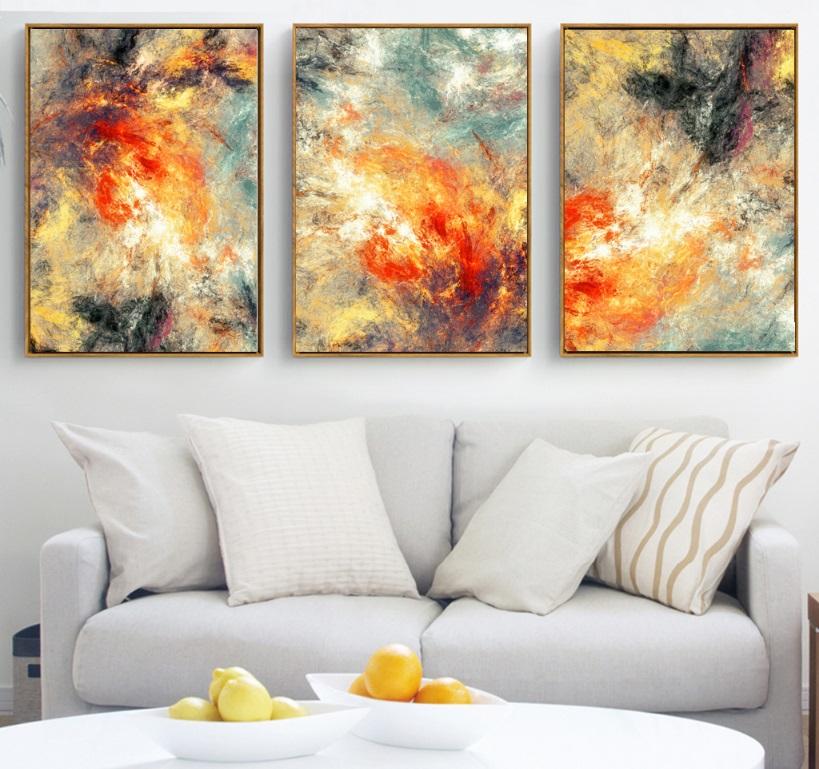 100% handmade Modern abstraction 3 Pieces Canvas Paintings Modular Pictures Wall Art Canvas