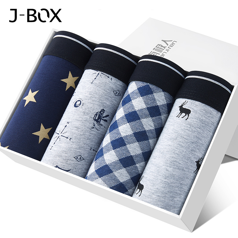 J-BOX 4pcs/Lot Mens <font><b>Sexy</b></font> Underwear Elastic Wide <font><b>Boxer</b></font> Men <font><b>Short</b></font> Panties Breathable Underpant Male Brand Trunk <font><b>Boxer</b></font> Cueca <font><b>Homme</b></font> image