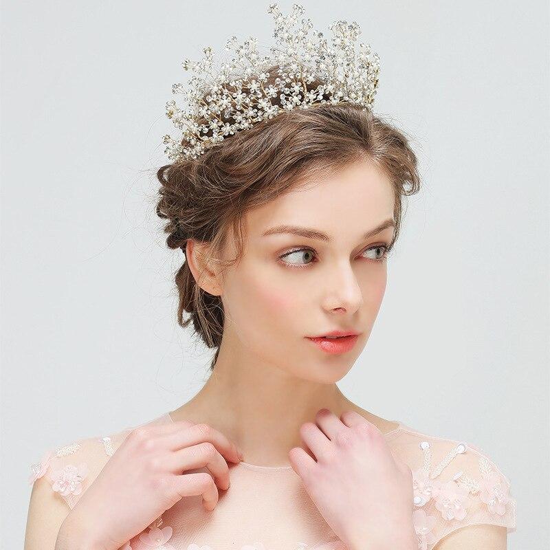 Jonnafe Charming Women Prom Crown Gold Bridal font b Tiara b font Headband Rhinestone Wedding Accessories