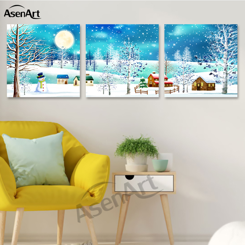 Dream Winter Snow Blue Painting Canvas Home Decoration Painting Mural Art Painting Free Shipping
