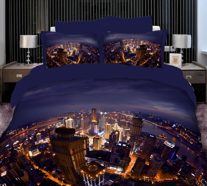 3D City Scene Duvet Cover Bedding Set Cal King Size Queen Full Double  Fitted Cotton Bed Sheets Bedspread Quilt Linen 4pcs 6pcs In Bedding Sets  From Home ...