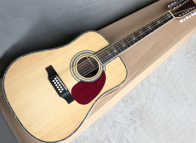 US $209 0 |Factory Custom 12 Strings 41'' Acoustic Guitar with Rosewood  Fretboard,Red Pickguard,Abalone inlay/Binding,White Tuners-in Guitar from
