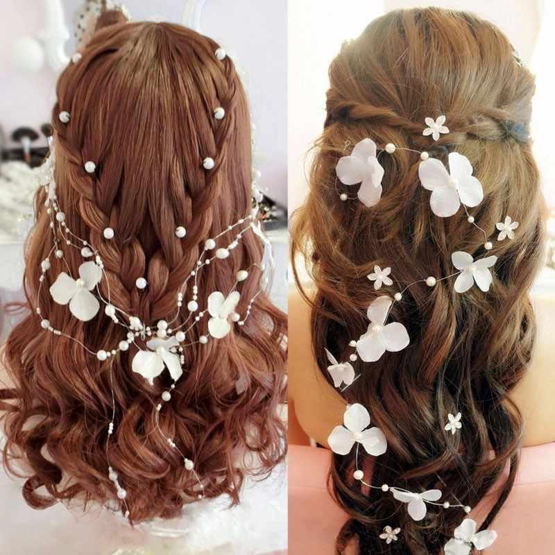 ดอกไม้สีขาวลูกปัดมุกงานแต่งงาน Bridal Garland Frontlet Headpiece อุปกรณ์เสริมผม