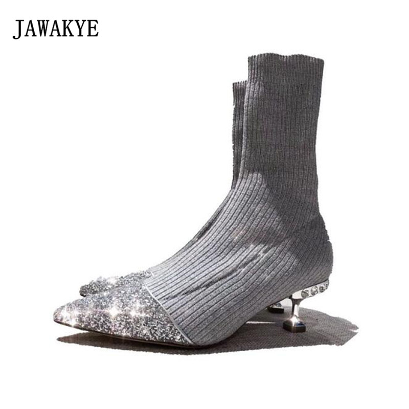 2018 Spring Sequined Knit Sock Boots Woman Shiny Pointed Toe Rhinestone Strange Heel Short Boot Women Stretch Ankle Boot JAWAKYE