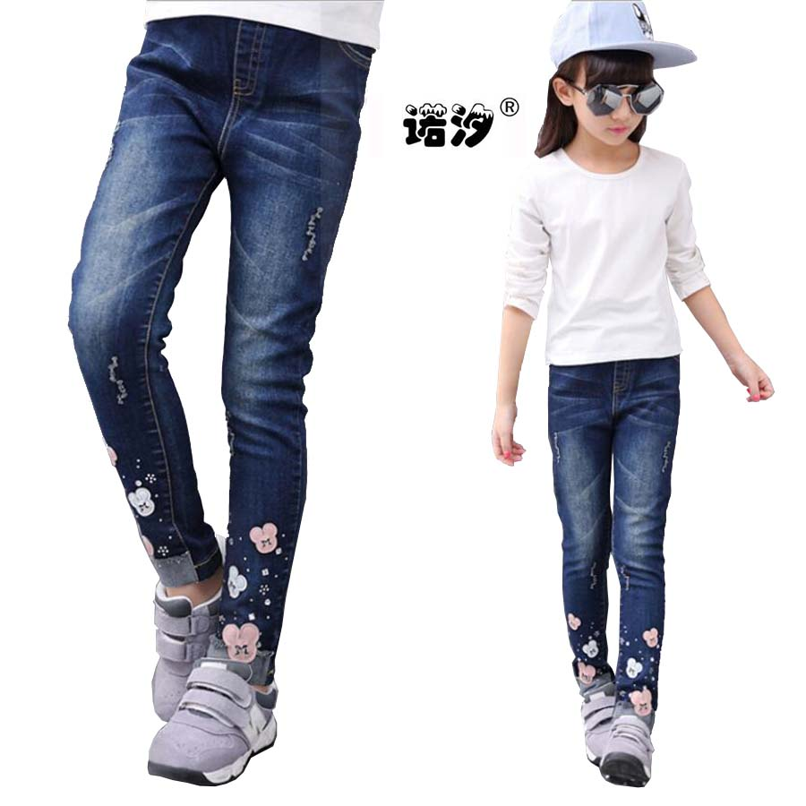 Girls clothes children long style cotton jeans 4-13 Y teenage denim trousers girls skinny pencil pants baby girls casual pants black long jeans woman casual pencil pants girl washed rhinestones hot drilling printing skinny long women jeans capris female