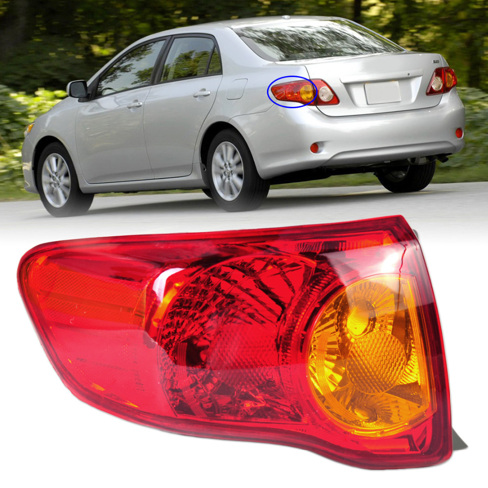 beler Rear Left Outer Tail Light Taillamp Assembly Driver Side Brake Light TO2800175 166-50863L for Toyota Corolla 2009 2010 1 pcs lh left side outer taillamp tail light rear lamp light for ford mondeo 2011 2012