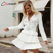 Conmoto Chiffon Blazer Pleated Dress Women Robe Femme High F