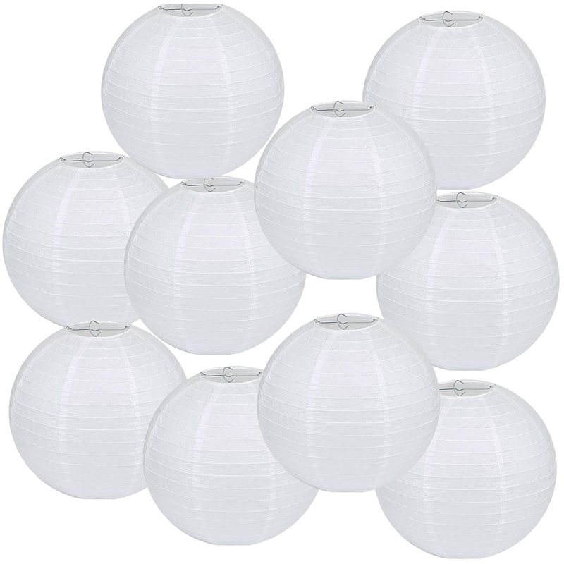 10 Packs 12 Inch White Paper Lanterns Round Chinese Japanese Hanging Ball Lampion Lamps For Birthday Wedding Christmas Parties