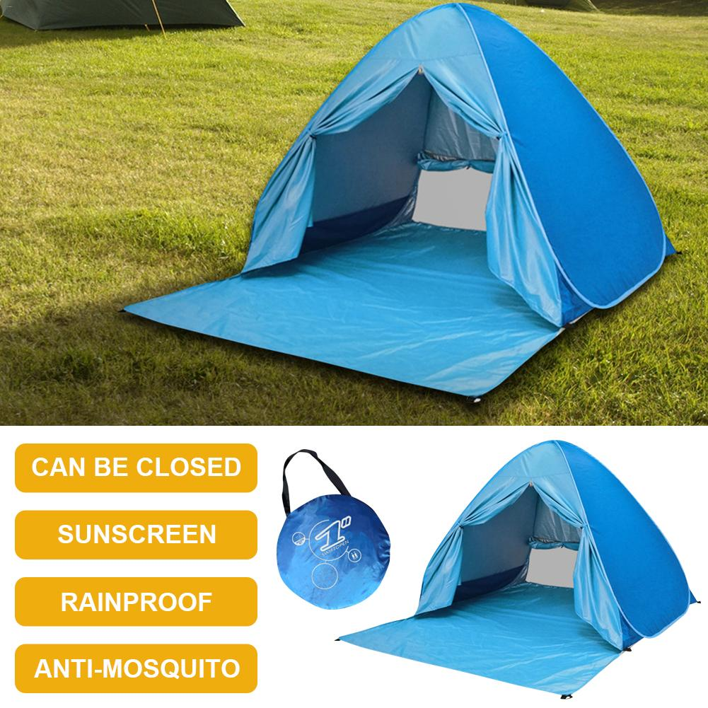 Blue Beach Tents Sunshade Sun Protection Free Speed Folding For Outdoor Comfortable And Durable Tents With Curtains Portable