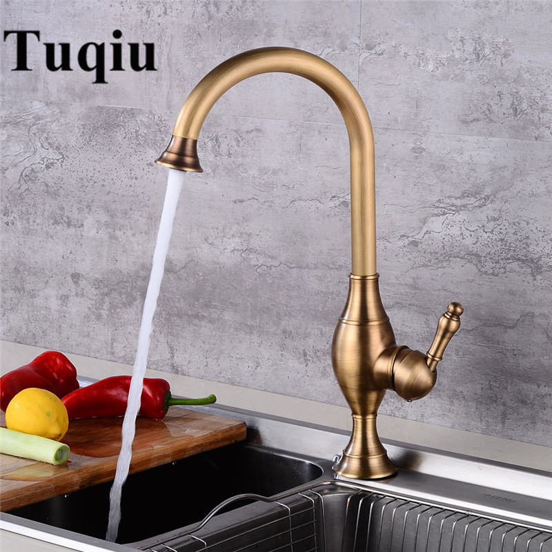 Tall Kitchen Faucet 360 Swivel Antique Brass Sink Mixer Tap Bathroom Basin Mixer Hot Cold Tap Antique Faucet Torneira de Cozinha kitchen faucets 360 swivel antique brass porcelain mixer tap bathroom basin antique faucet