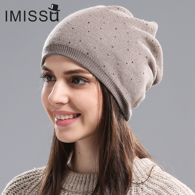 IMISSU Women's Winter Hat Knitted Wool Beanie Female Fashion Skullies Casual Outdoor Mask Ski Caps Thick Warm Hats for Women