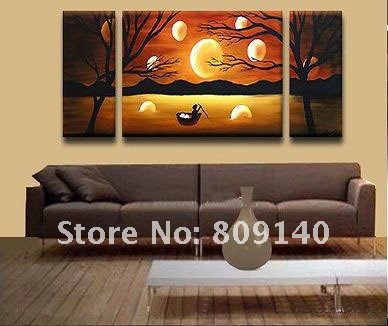 Painting By The River Scenery Oil Painting On Canvas Free Shipping High Quality Hand Painted Home
