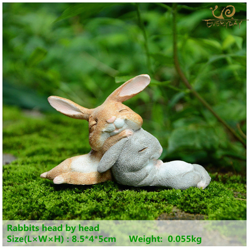 Everyday Collection Bunny Rabbits resin miniatures fairy garden Ornament craft bonsai home decor Easter Day gift