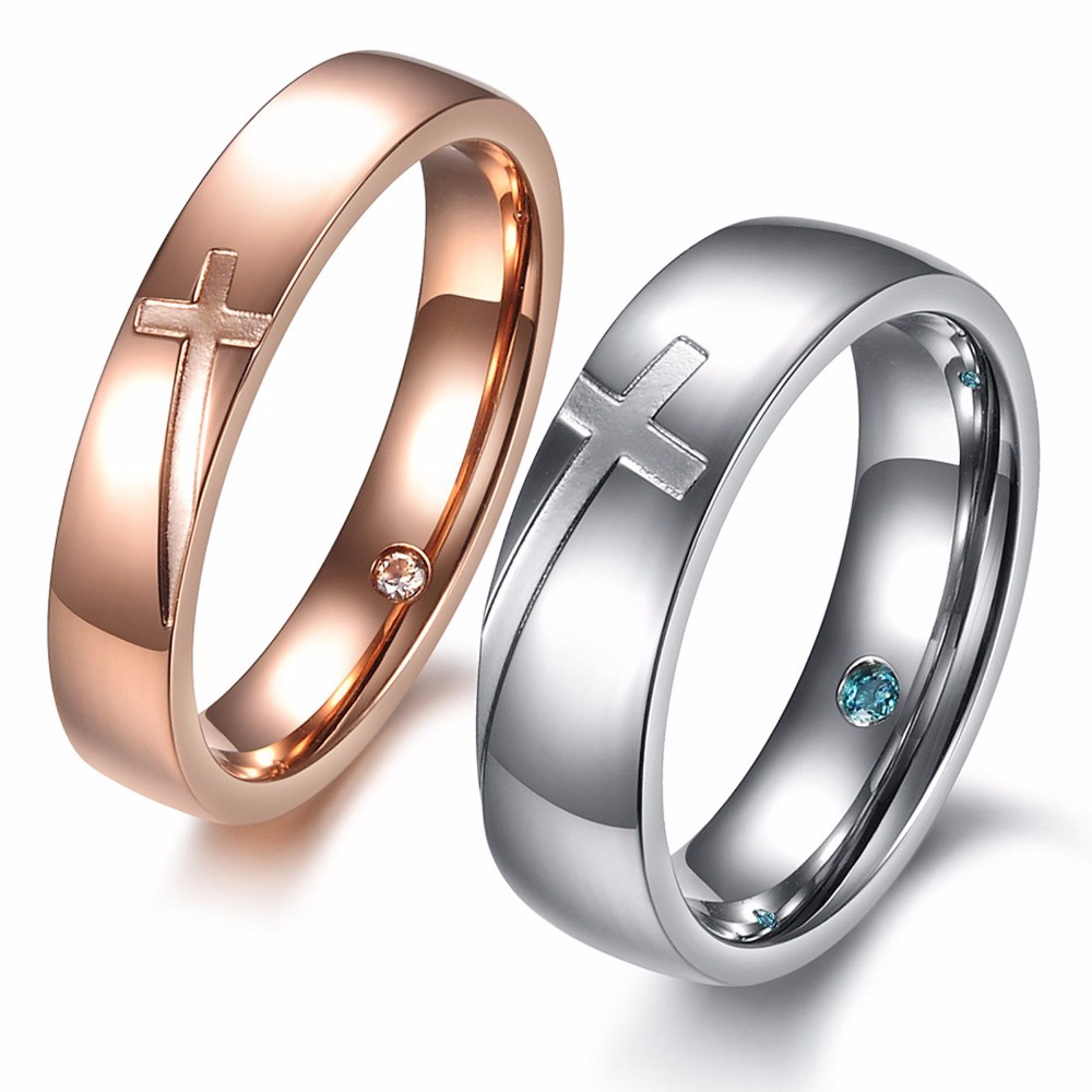 Fashion Jewelry Stainless Steel Cruz Puzzle Simple Shinning Crystal  Rotating Cross Couple Rings For Anniversary(