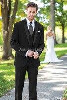 2014 High Quality Black Groom Tuxedos Groomsmen Best Man Men Wedding Suits Prom Formal Bridegroom Suit